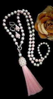 Set of designer jewelry sautoir + earrings