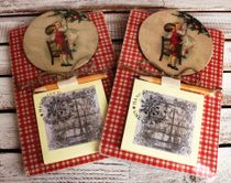 Souvenir fridge magnet with Notepad Kids at the Christmas Tree, background mix