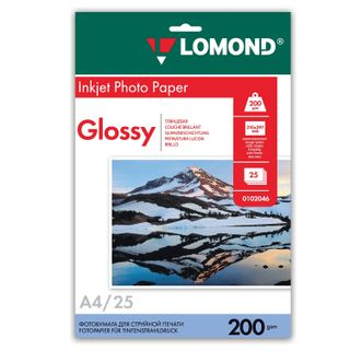 Photo paper for inkjet print, A4, 200 g/m2, 25 sheets, one-sided glossy LOMOND