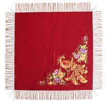 The pre-order. Handkerchief 'the Firebird' Burgundy with gold embroidery