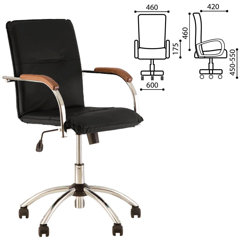 "Armchair ""Samba GTP"", wooden overlays, chrome, black leatherette"