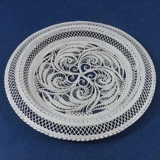 "Plate ""Vortex"" silvering, Kazakovo Filigree"