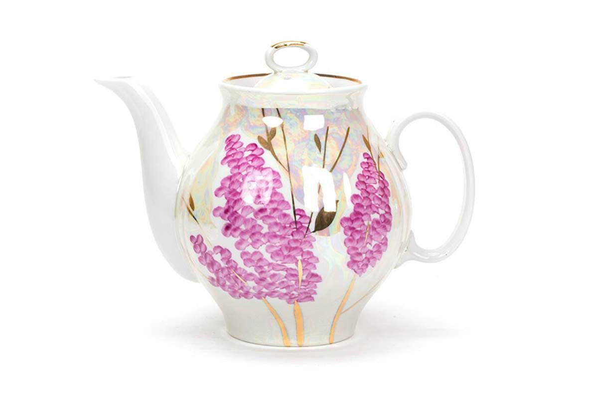 Dulevo porcelain / Teapot 1000 ml White swan Pink lilac