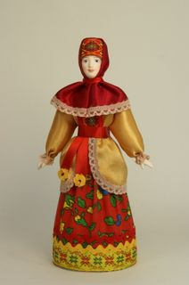 Doll gift porcelain. Traditional costume of the don Cossacks. The late 19th - early 20th century Russia.