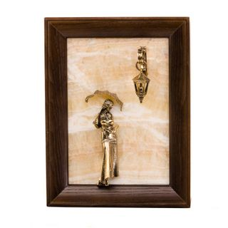 "Picture-panel ""Girl with umbrella"" without lighting on natural stone onyx"
