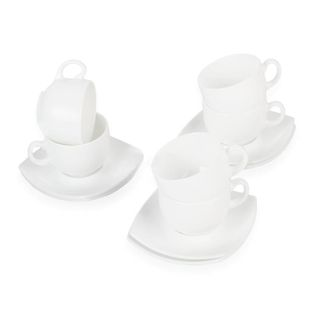 Tea set for 6 persons, 6 cups 220 ml and 6 saucers, white glass,