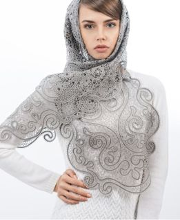 "Lace scarf ""Cashmere"" gray, Madame Cruje"