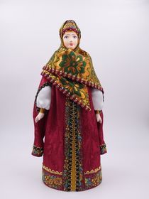 Doll gift porcelain. Boyar telogree, a cap-and Stolbova brocade shawl, 16th-17th centuries, 25 cm