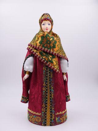 Doll gift porcelain. Boyar telogree, a cap-and Stolbova brocade shawl, 16th-17th centuries, 25 cm