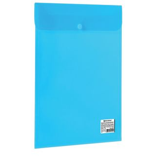 Folder-envelope with button BRAUBERG, vertical, A4, 100 sheets, transparent blue, 0.15 mm