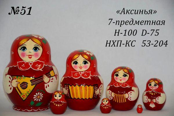 """Vyatka souvenir / 7-piece matryoshka """"Aksinya"""" No. 146"""