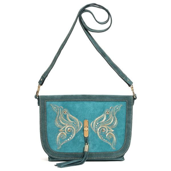 Suede bag 'swallowtail' green with gold embroidery
