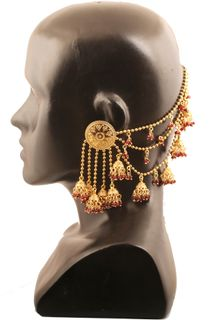Touchstone Indian Bollywood Devsena Bahubali Fame Ultra Modern Hung With Marron Beads Designer Jewelry Earrings For Women In Antique Gold Tone