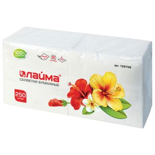 LIME / White paper napkins 250 pcs., 24x24 cm, 100% cellulose