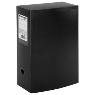 The box is archival (330х245 mm), 100 mm, plastic, collapsible, up to 900 sheets, black, 0.9 mm, BRAUBERG Energy
