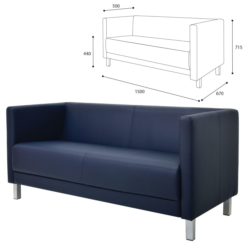"GARTLEX / Sofa soft three-seater ""Atlanta"", ""M-01"", 1500x670x715 mm, with armrests, eco-leather, dark blue"