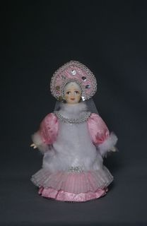 Porcelain souvenir doll. Snow Maiden. Fairytale character.