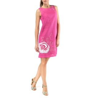 "Women's dress ""Watercolor"" pink color with silk embroidery"