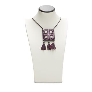 """Pendant """"Flicker"""" purple color with silver embroidery"""