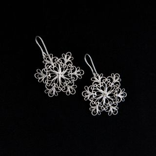 Earrings snowflake silvering, Kazakovskaya Filigree