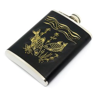 """Flask with hand embroidery """"Fish"""""""
