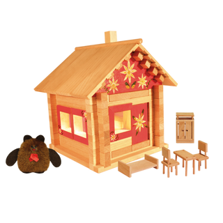 Designer Hut house with dolls, furniture, painting and wiring, 106 elements, Pelsi