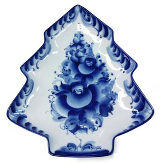 Tray large Christmas Tree 1st grade, Gzhel Porcelain factory