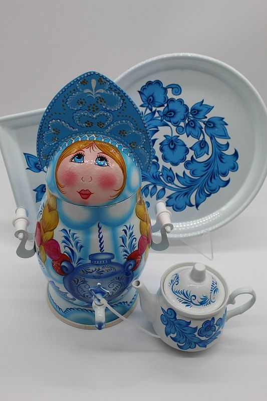 "Dulevo porcelain / Electric samovar 3 l. ""Snow Maiden"" in the set"