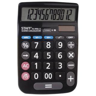 Desktop calculator STAFF PLUS DC-999S-12, COMPACT (160x106 mm), LARGE BUTTONS, 12 digits, dual power