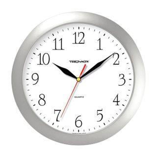 Wall clock TROYKA 11170113, circle, white, silver frame, 29х29х3,5 cm