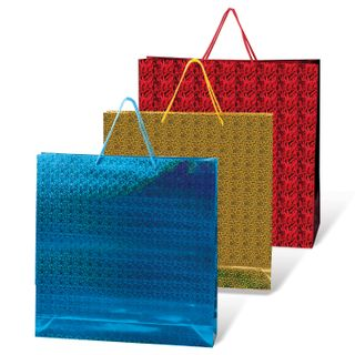 GRANDGIFT / Laminated gift bag, 40x55x24 cm, holographic, assorted color