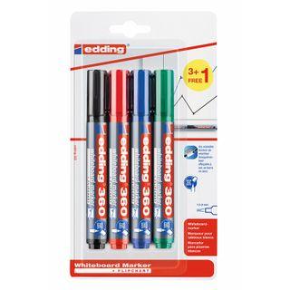 Edding / Whiteboard Marker Set, Round Tip, 1.5-3mm, 4 Colors Blister