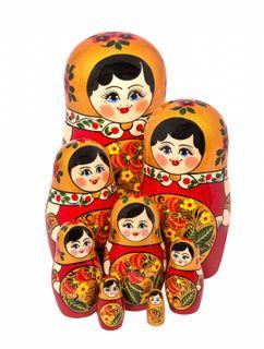 8 Khokhloma matryoshka dolls