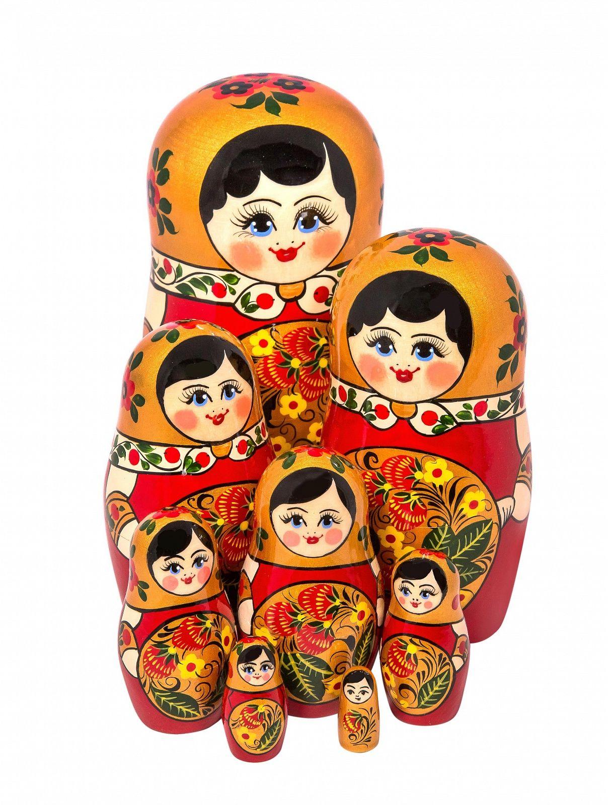 Khokhloma painting / Matryoshka Khokhloma 8 dolls
