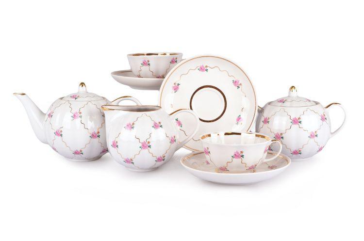 Dulevo porcelain / Tea set 15 pcs. Tulip pink motif