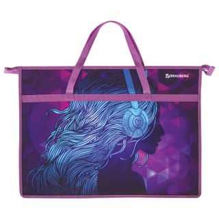 Folder of paintings and drawings A3, with handles, 1 compartment, plastic, color printing, zipper top, BRAUBERG,