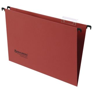 Hanging folder A4/Foolscap (406х245 mm), up to 80 sheets, SET of 10 PCs, red cardboard, BRAUBERG (Italy)