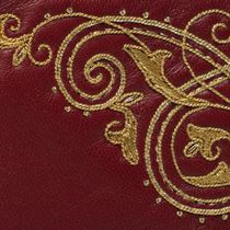 Leather eyeglass case 'Music' Burgundy with gold embroidery