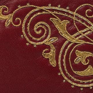 "Leather eyeglass case ""Music"" Burgundy with gold embroidery"