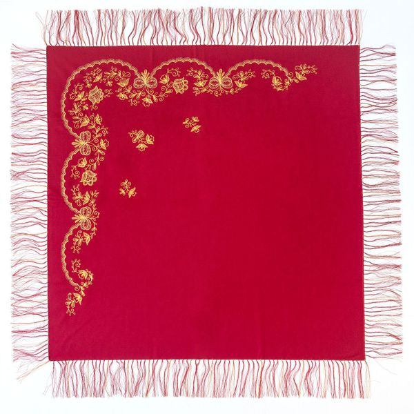 Shawl 'Bouquet' of red color with Golden embroidery