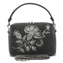 Velvet bag 'Portobello' gray color with silver embroidery