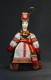 Doll pendant souvenir porcelain. Costume of Voronezh province
