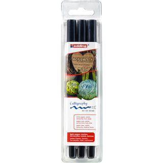 Edding / Calligraphy marker set, pigment ink, beveled nib, 2, 3.5, 5 mm, 3 pieces Black
