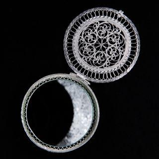 "Souvenir ""the Mirror"" , silver plated, Kazakovo filigree"