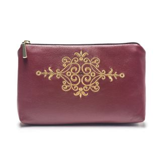 """Leather cosmetic bag """"Asia"""" Burgundy with gold embroidery"""