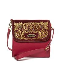 Leather bag 'Isabel' Burgundy with gold embroidery