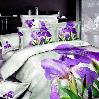Satin bed linen 3D iris