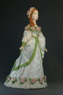 Doll gift porcelain. A lady in a ball gown. The end of the 18th century. Petersburg