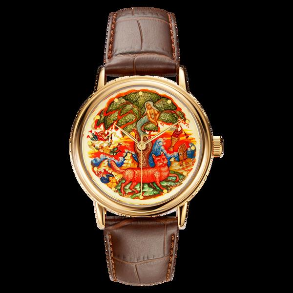"Palekh watch ""Near Lukomorye №30"" quartz, hand-painted, artist Mamina, braun band"