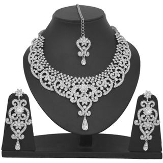 Touchstone Indian Bollywood Royal Look Marvelous Designer Jewelry Necklace Set Embellished With White Crystals For Women in Silver Tone.